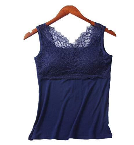 Modal hemdje voor dames, kanten broekje met borstkussen, eenvoudig bodemshirt, mooi rugvest