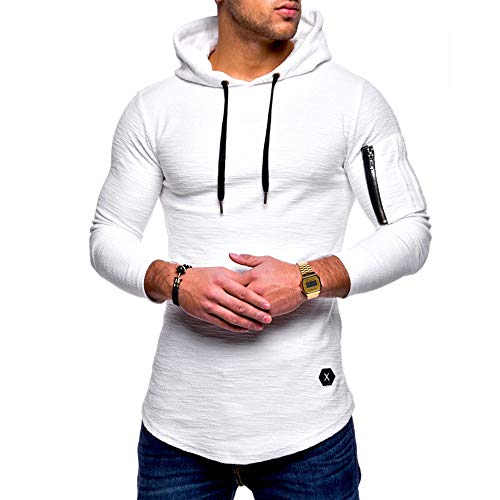 MRULIC Herren Kapuzenpullover Mittlere Saison Tops Oberbekleidung Pulli Warme Pullover Streetwear RH-012(Weiß,EU-52/CN-3XL)