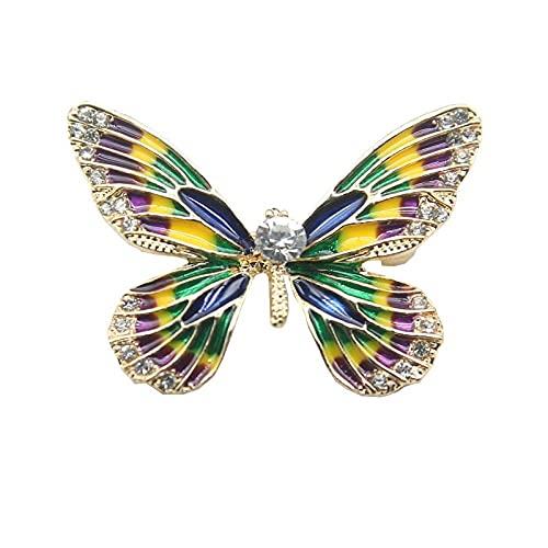 Pintura en color esmalte al óleo broche de mariposa hombres y mujeres temperamento diamante mariposa broche traje abrigo ramillete accesorios
