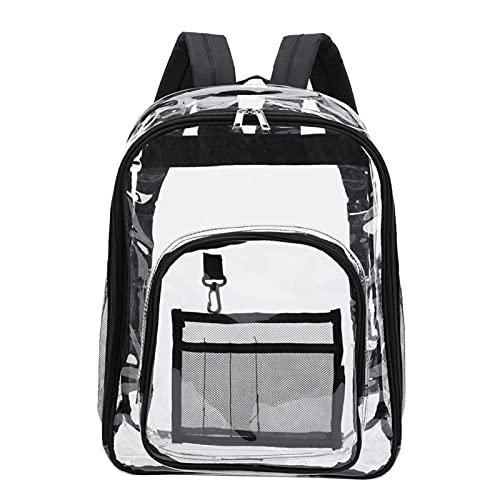 Mochila transparente resistente al agua bolsa de almacenamiento de PVC con correa de hombro reforzada, adecuada para el trabajo escolar y viajes