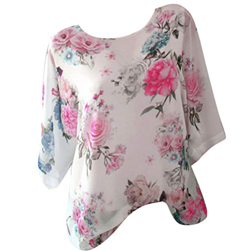 Zegeey Damen T-Shirt GroßE GrößEn Blumendruck Schulterfrei Schicker Elegant LäSsige Lose Oberteil Bluse Pullover Tops Shirt Hemd(B1-Hot Pink,46 DE/4XL CN)
