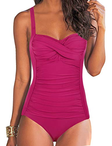 Hilor Women's One Piece Swimsuits Front Twist Bathing Suits Tummy Control Swimwear Retro Inspired Monokini Rose Red 14