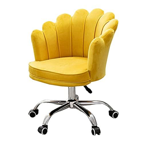 SACKDERTY Home Office Rollstuhl Moderner bequemer Samt Schreibtischstuhl, 360° drehbarer höhenverstellbarer Empfangshocker mit gepolstertem Blütenblatt-Arbeitsstuhl