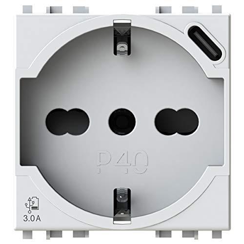 P40 USB3.0 Schuko-Steckdose Typ P40 mit integriertem 3 Ampere USB-Netzteil Typ C kompatibel mit Vimar Arké weiß