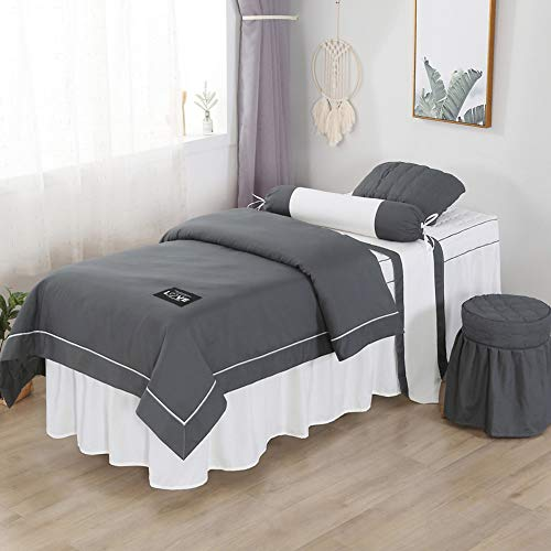 Solid Color Beauty Massage Linens, Cotton Soft Massage Table Sheet Sets Bedspread with Face Rest Hole Breathable Bed Cover-Dark Gray 60x180cm(24x71inch)