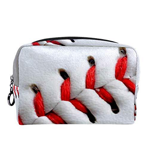 Bolsas de Maquillaje Estuche multifunción para Organizador de Bolsas de cosméticos de Viaje portátil Deporte de béisbol Rojo Blanco con Neceser con Cremallera para Mujer