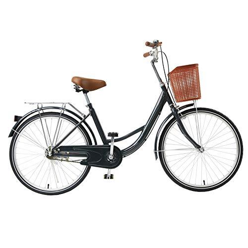 "Viribus Single Speed Beach Cruiser Bike, Comfortable Commuter Bicycle, High-Carbon Steel Frame, Front Basket & Bell, Rear Racks (Navy, 26"")"