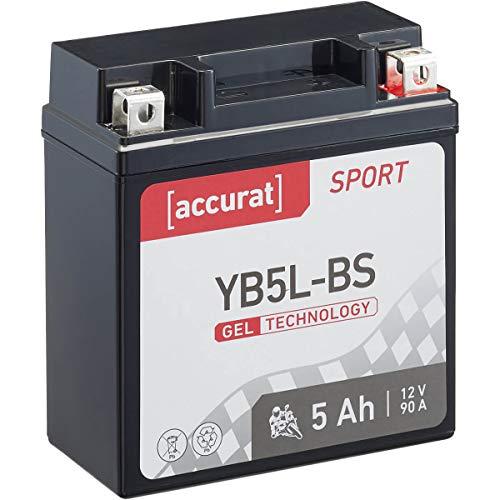 Accurat Motorradbatterie Sport YB5L-BS 5 Ah 90 A 12V Gel Technologie Starterbatterie in Erstausrüsterqualität zyklenfest sicher lagerfähig wartungsfrei