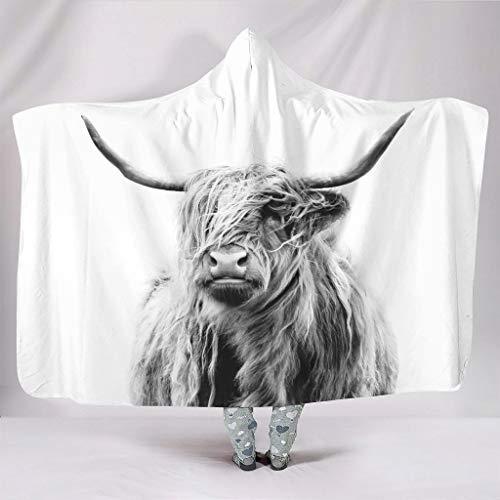 Hothotvery Manta con capucha (130 x 150 cm), diseño de vaca escocesa, color blanco