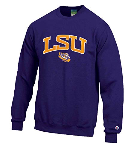 Champion Adult Tackle Twill Crewneck - Officially Licensed Unisex Team Sweatshirt (LSU Tigers - Purple, X-Large)