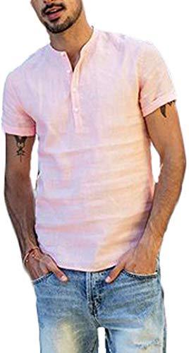 Camiseta de Manga Corta para Hombre Camisa Ajustada de Color Liso Camisa Ocio de Algodón y Lino con Cuello en V Blusa de Moda con Botones T-Shirt Verano Informal (Rosa, L)