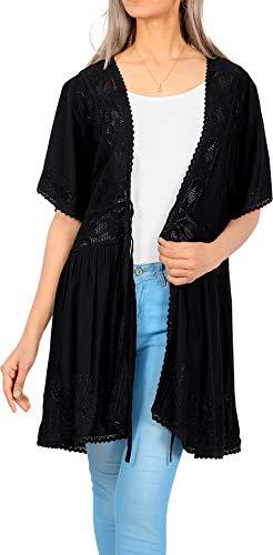 LA LEELA Ricamo Copricostume Mare Cardigan Donna Taglie Forti- Vintage Rayon Estivo Scialle Elegante Solido Kimono Vestito Corto Estate Boho Tunica Etnica Abito da Spiaggia Nero_A616