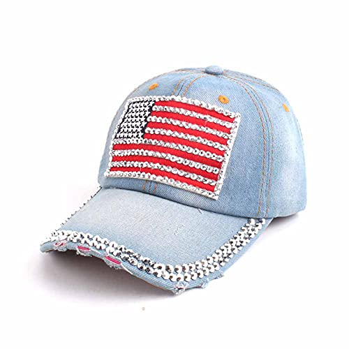 LLSB Gorra De Béisbol para Mujer para Hombres, Mujeres, Gorra Snapback, Gorras De Bandera Americana del Ejército Hombres, Gorras De Camionero De Hueso, Azul Claro