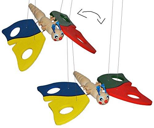 alles-meine.de GmbH Holzmobile / Unruhe / Schwingtier - bunter Schmetterling - aus Holz - Spielzeug Windspiel Tiere Schmetterling Mobile Traumfänger für Kinder Baby Mobiles / Sch..