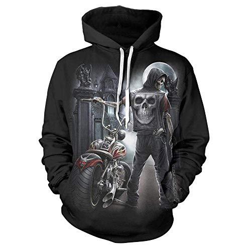 Cuero negro unisex cráneo de la motocicleta 3D Impreso sudaderas con capucha de manga larga Streetwear Parejas jersey con bolsillo grande y cordón únicos sudaderas ( Color : Color , Size : XX-Large )