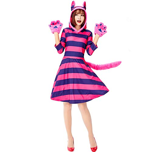 Yolanda Medina Adult Cheshire Cat Kostüm für Damen Alice im Wunderland Halloween Party, Damen Halloween Cosplay Kostüm mit Handschuhen