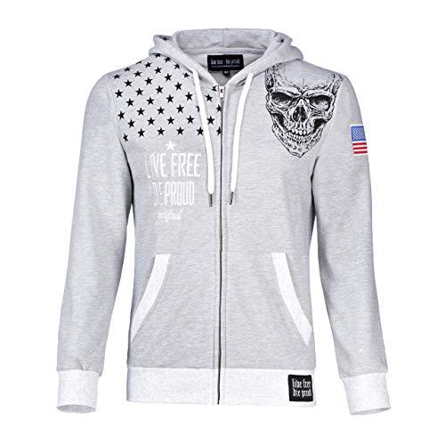 Trendige Designer Damen Jacke Hoodie Sweatjacke Totenkopf Skull grau UVP 59,95 (XS)