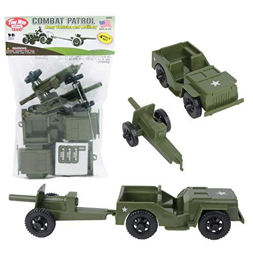 TimMee Combat Patrol Willys & Artillery - Green 4pc Playset USA Made