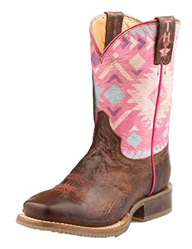 Tin Haul Boots Boys Tin Haul Pink Moon Teepee Sole 10 Shaft Cowgirl Boots 5 Brown