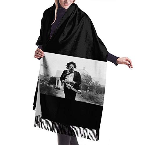 Bufanda para mujer de la matanza de motosierra, mantón largo envuelto con borlas