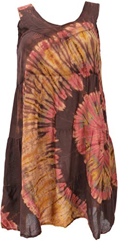 GURU SHOP Plus Size Batik Tunika, Strandkleid, Tunika für Starke Frauen, Damen, Cappuccino, Synthetisch, Size:44, Kurze Kleider Alternative...