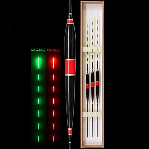 LYXMY LED Flotador de Pesca, Color Cambio Inteligente Flotadores de Pesca con Gravedad Sensor Chip, Luminoso Señuelo Pesca Flotadores Corchos - Rojo, Libre Talla