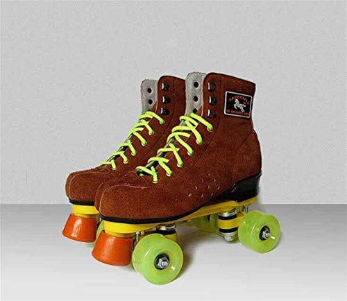 Rollschuhe New Erwachsene Double Lines Skating Schuhe Kuh-Leder-Quad Stiefel Braun (Color : SM Brown, Shoe Size : 36)