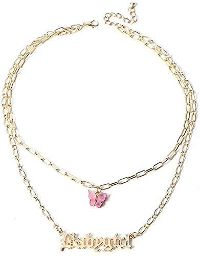 ZPPYMXGZ Co.,ltd Collar Collar de acrílico de Moda Colgante de Mariposa Cadena de múltiples Capas Letras Colgantes Collar de joyería de Mujer joyería Larga