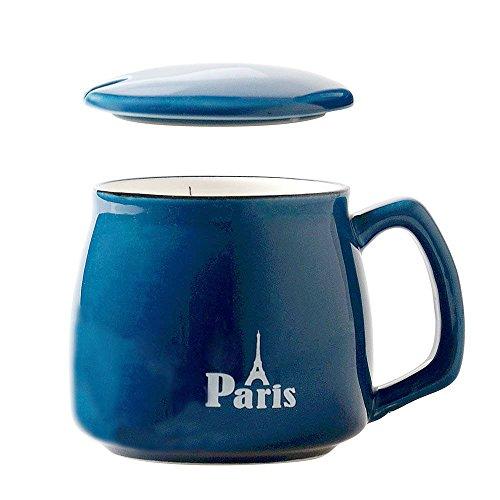 HwaGui Taza de te Ceramica con Tapa, Grande Taza Cafe como Regalo, Azul Paris 400ml / 0,4L