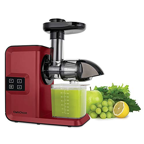 Chef'sChoice Juicer Cold Press Extractor Machine Masticating Quiet Motor Digital Controls Anti-Clog Reverse Function Nutrient Preserving For Juicing Fruits Veggies and All Greens, 150-watt Red