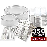 350-Piece Silver Disposable Dinnerware Set