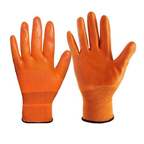 NJ Handschuh- Reiner Plastik-PVC-voller hängender Kleber wasserdichter rutschfester ölbeständiger starker Arbeits-Schutzhandschuhe (Farbe : Orange, größe : 25x11.5cm)