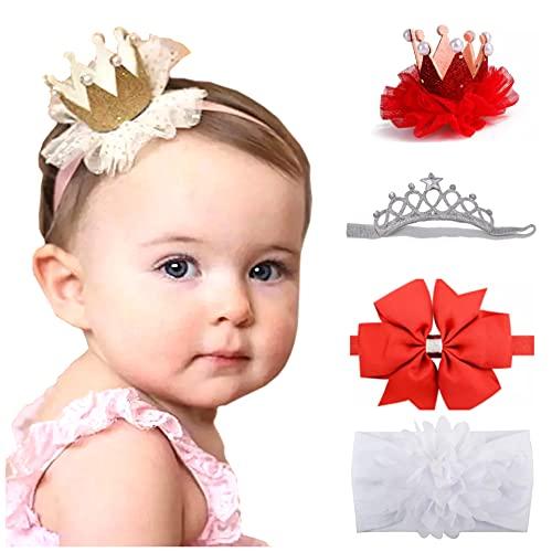 Mom & Beauty – Juego de diademas para el pelo, corona para bebé niña con nudo de 3 meses a 2 años blanco y rojo Talla única