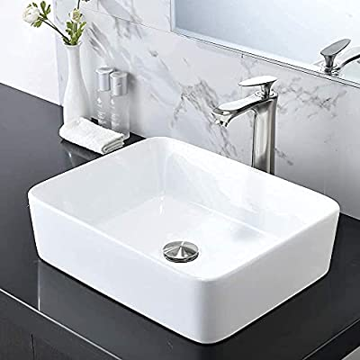 HOSINO Vessel Sink and Faucet Combo, 19x15 Inch Bathroom Sink Rectangle Vanity Sink Above Counter Ceramic Washing Bowl Sink Countertop Brushed Nickel Pop-up Drain Included