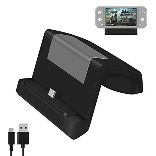 Ladestation für Nintendo Switch, Ladestation für Nintendo Switch Lite, Ersatz Ladestation für Nintendo Switch mit USB C Power Input, Kompakter Switch zu Adapter - Schwarz