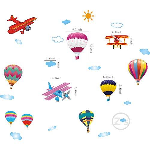 Abnehmbarer Flugzeugaufkleber, schöne Cartoon-Luftballons für Hauptwanddekor des Kinderzimmers