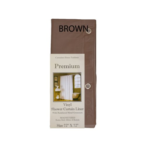 Standard Size 4 Gauge Magnetized Shower Curtain Liner Made with Mold, Mildew and Bacteria Resistant Vinyl (Chocolate Brown)
