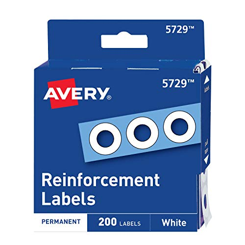 Avery 05729 Dispenser Pack Hole Reinforcements, 1/4 Dia, White (Pack of 200)