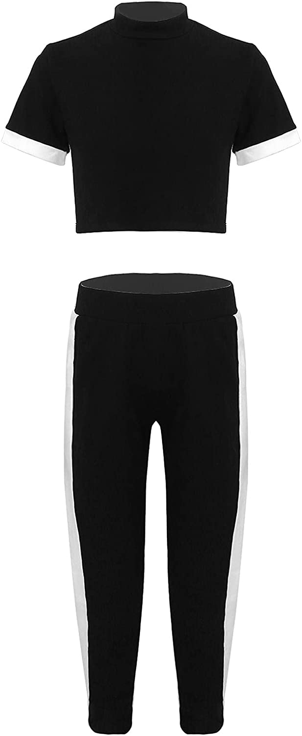 Loyan Girls Tracksuits Sweatsuits Short Sleeves Stand Neck T-Shirt Crop Top and Elastic Pants Set