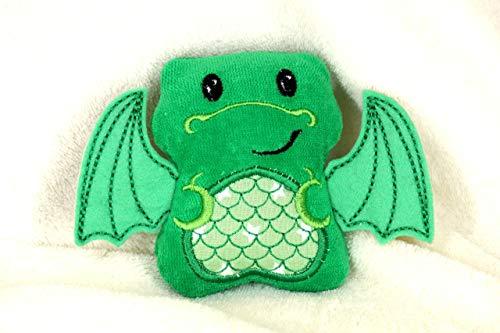 Kuscheltier Drache grün personalisierbar mit Initialen, Rassel, Quietscher Bio Nicki Baumwolle Geschenk zur Geburt