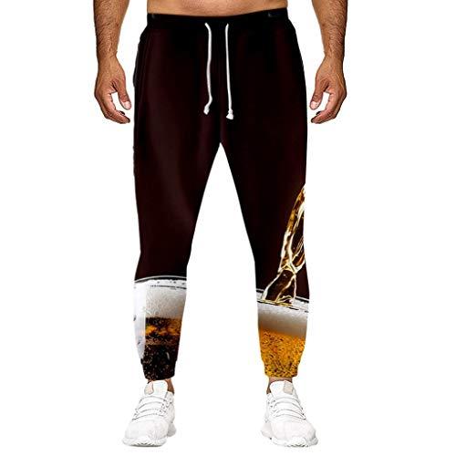 Oliviavane Oktoberfest Hosen Männer Beiläufiges Loses langes Hosen Bier Festival 3D Druckhose Streetwear Bequeme Sporthose Jogginghose (Schwar-1, XXXL)