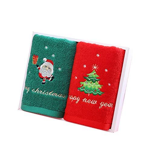 WBTY - Asciugamani natalizi in puro cotone, 2 pezzi, con motivo albero di Natale Babbo Natale, asciugamano assorbente, per bagno, cucina, casa, lavabo, 2 pezzi