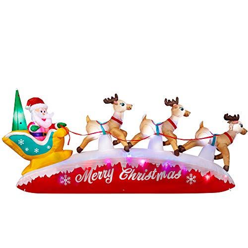 SEASONJOY 10 Ft Long Christmas Inflatable Santa on Sleigh with Three Reindeers,Built-in Color...