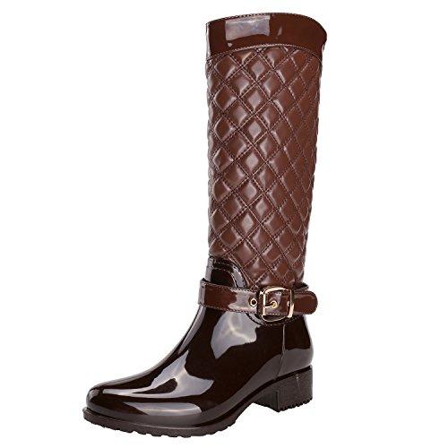 Alexis Leory - botas de agua altas con hebilla ajustable, para mujer, Marrón (marrón), 37