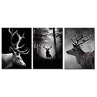 森林レトロ北欧ポスター白黒ポスターとプリントエルク絵画壁アートキャンバスプリント装飾画像/ 60X80Cmx3非フレーム
