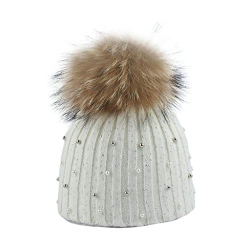 PLOT Strickmützen für Damen Einfarbig Gestrickt Wintermütze mit Perlen Fell-Bommel Winter Warme Slouch Beanie Mütze Skimütze Bommelmütze