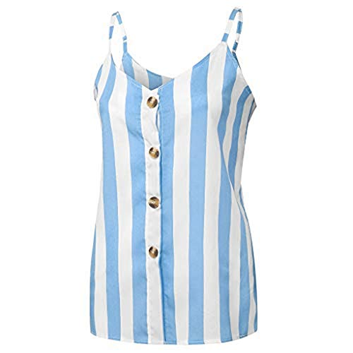 Fashionhe Women's Button Down Vest V Neck Striped Tank Tops Loose Casual Sleeveless Top Blouses(Blue.L)