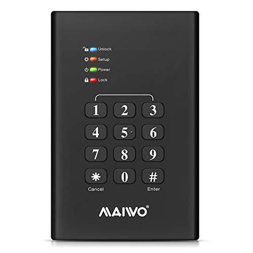 麦沃 USB 3.0 External Encrypted Hard Drive Enclosure HDD Enclosure 2.5 SSD Hard Drive Enclosure,Support UASP, SATA 1,2,3,Black,3TB,Keypad Security MAIWO K2568KPA
