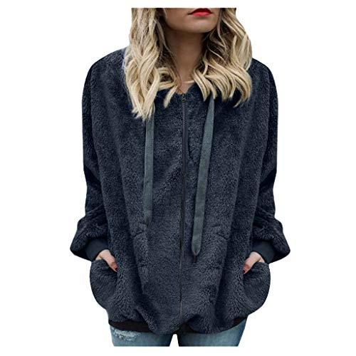 Yowablo Kapuze Sweatshirt Mantel Outwear Frauen Winter Warme Wolle Reißverschluss Taschen Baumwolle (M,8Dunkelgrau)
