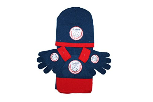 PARIS SAINT GERMAIN psg-ensemble bonnet gants écharpe bleu et rouge-garçon